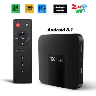 TX3 MINI Smart TV Box Android 8.1 TV BOX 2GB 16GB 4K TV Amlogic S905W Quad core H.265 Decoding 2.4GHz WiFi