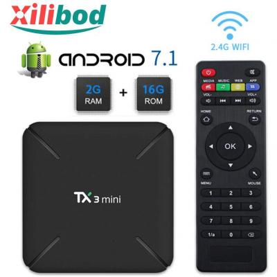 Xilibod TX3 MINI TV Box Android 7.1 TV BOX 2GB 16GB 4K TV S905W Quad core H.265 Decoding 2.4GHz WiFi